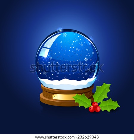 Christmas snow globe and holly berry on blue background, illustration. - stock vector