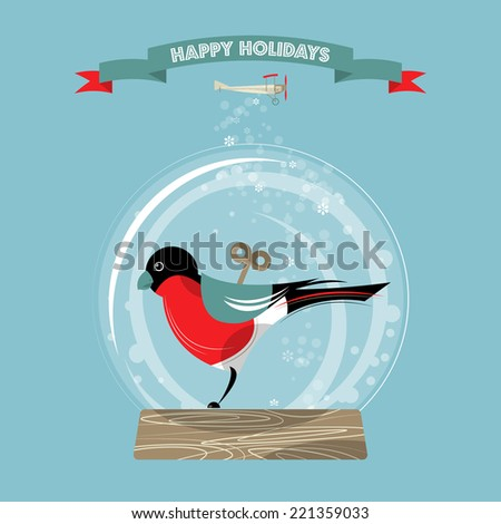 Christmas snow globe and wind-up toy bullfinch. Happy holidays. Vector illustration. - stock vector