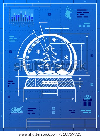 Christmas snow globe symbol as blueprint drawing. Drafting of snow dome on blueprint paper. Vector image for new year's day, christmas, decoration, winter holiday, souvenir, new year's eve, silvester - stock vector