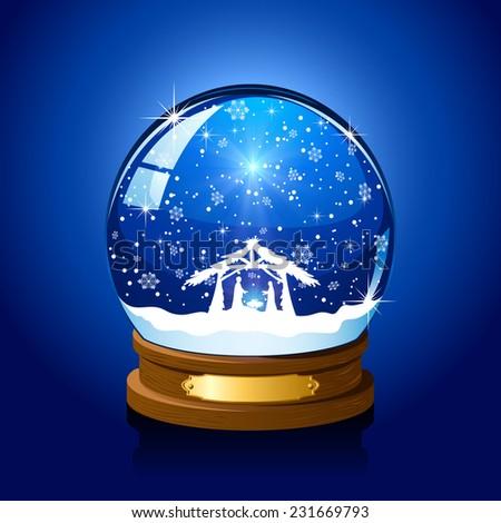 Christmas snow globe with Christian scene on blue background, illustration. - stock vector