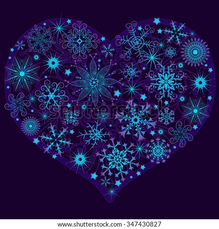 Christmas snow heard with glowing snowflakes and stars (vector) - stock vector