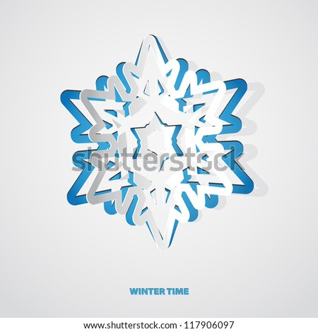 Christmas snowflake applique vector background - stock vector