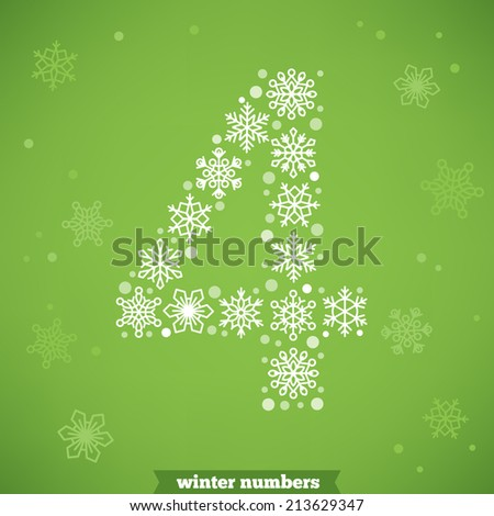 Christmas snowflake numbers. Number four - stock vector