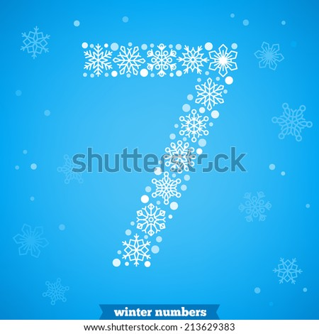 Christmas snowflake numbers. Number seven - stock vector