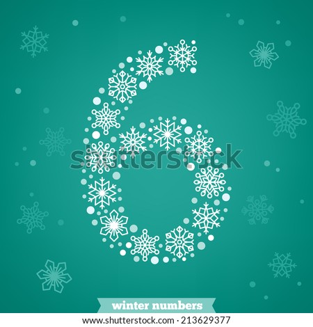 Christmas snowflake numbers. Number six - stock vector