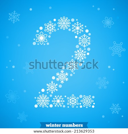 Christmas snowflake numbers. Number two - stock vector