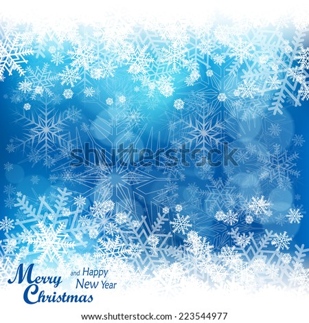 Christmas snowflake pattern in blue & text, winter design, vector illustration - stock vector