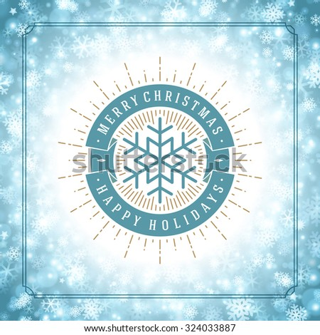 Christmas snowflakes and typography label design vector background. Greeting card or invitation and holidays wishes.  - stock vector