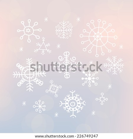 Christmas snowflakes background. Falling snowflakes. Vector illustration. - stock vector