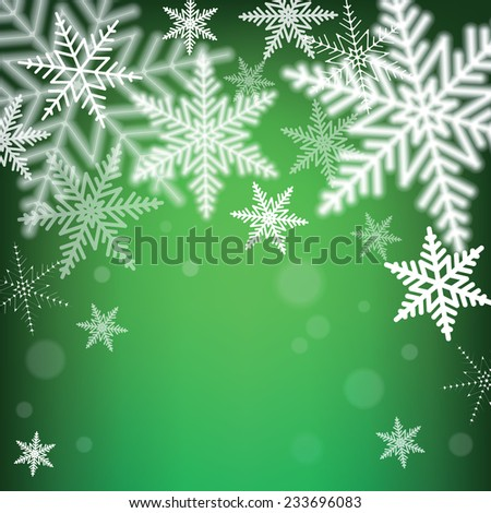 Christmas snowflakes on green background. Vector illustration.  - stock vector