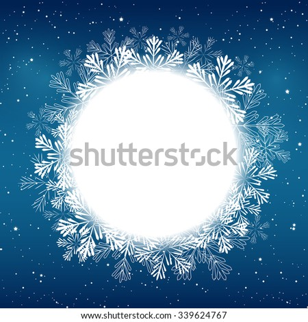 Christmas snowflakes round frame for Your design - stock vector
