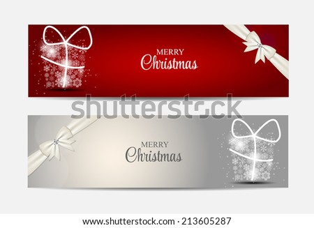 Christmas Snowflakes Website Header and Banner Set Background Vector Illustration EPS10  - stock vector