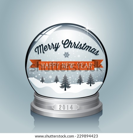Christmas Snowglobe Background - Christmas themed greeting design.  Colors are global, file is layered and each object is grouped separately for easy editing.   - stock vector
