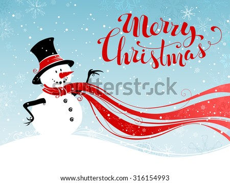Christmas snowman background. Cute snowman in hat and long red scarf. Hand-written Merry Christmas.  - stock vector