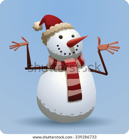 Christmas snowman in red christmas hat and scarf with red and white stripes, vector - stock vector