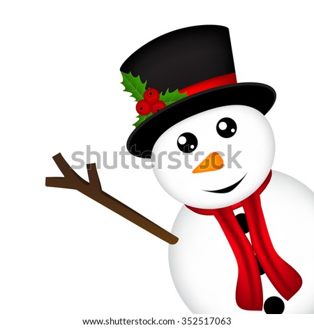 Christmas Snowman on white background - stock vector