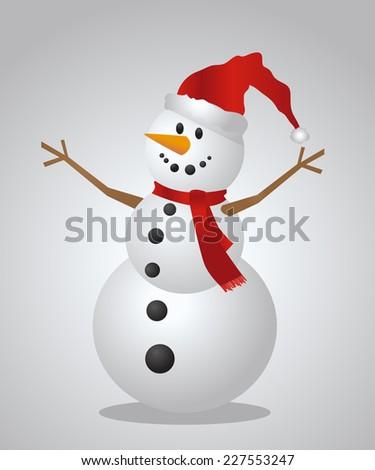 Christmas Snowman with a Santa Hat - stock vector