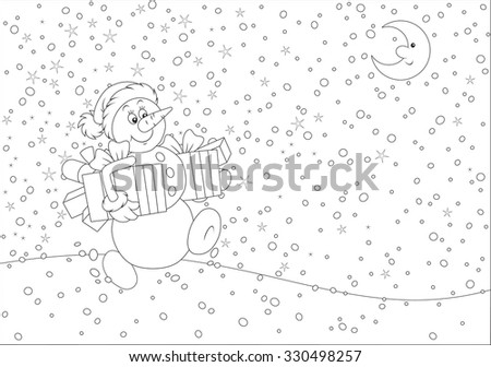 Christmas Snowman with gifts - stock vector