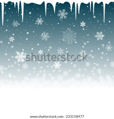 Christmas snowy background with icicles. Vector illustration - stock vector
