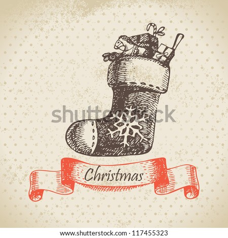 Christmas sock. Hand drawn illustration - stock vector