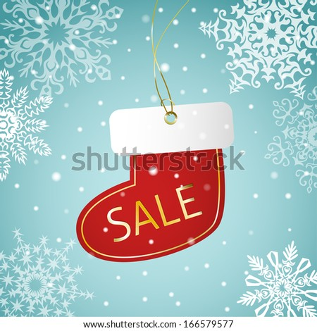 Christmas sock sale tag on a snowy background - stock vector