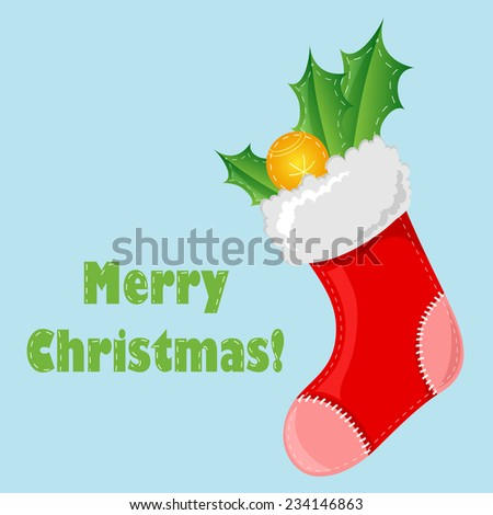 Christmas sock with leaves and Christmas ball - stock vector
