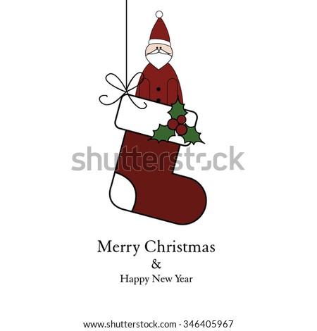 Christmas socks and Santa claus - stock vector