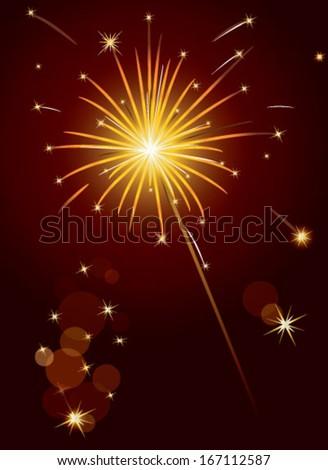 Christmas sparkler over red background - stock vector