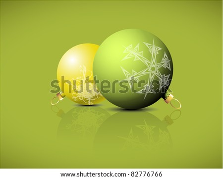 Christmas spheres with snowflakes ornaments on a green background - stock vector