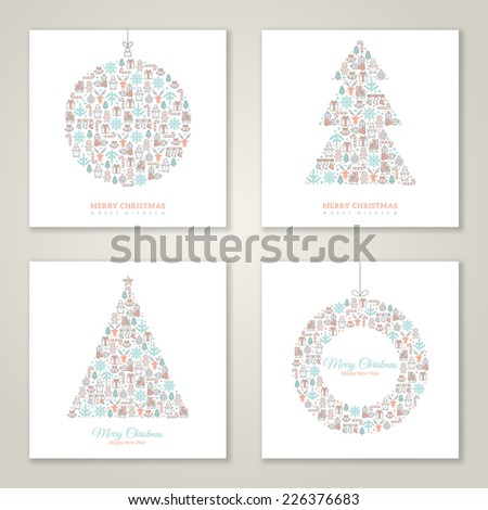 Christmas square cards design collection. Vector illustration. New year greetings. Christmas icons and symbols formed abstract shapes. Vintage style. - stock vector