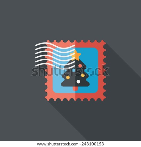 Christmas stamp flat icon with long shadow, eps10 - stock vector