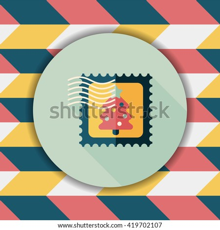 Christmas stamp flat icon with long shadow,eps10 - stock vector