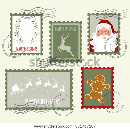 Christmas Stamp Set. Vector Illustration - stock vector