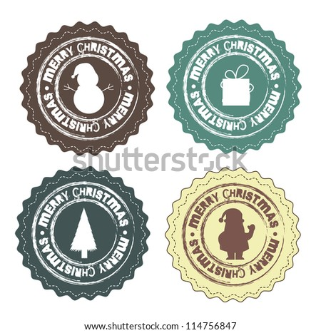 Christmas stamps with gifts, Santa Claus and snowmen - stock vector