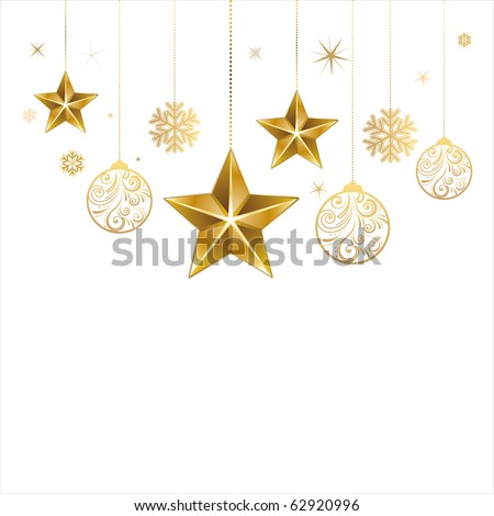 christmas star and decoration ball - stock vector