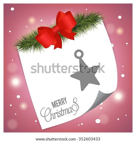 Christmas Star. Christmas tree fir with page curl background on glowing star Pink backgrounds - stock vector