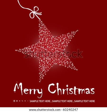 Christmas star illustration - postcard with a twinkling red star - stock vector