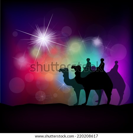 Christmas star on a colorful background. Vector  - stock vector