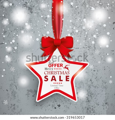 Christmas star with snowflakes on the concrete. Eps 10 vector file. - stock vector