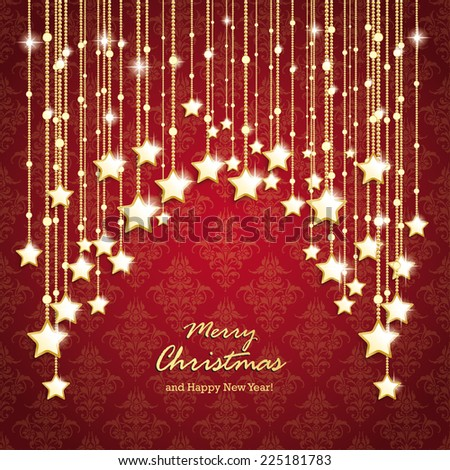 Christmas stars on the red background with ornaments. Eps 10 vector file. - stock vector