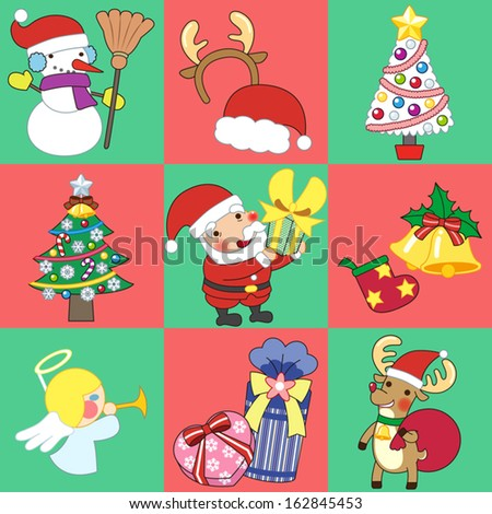 Christmas sticker and Vector illustration - stock vector