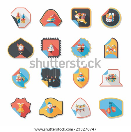 Christmas sticker flat banner background set,eps10 - stock vector