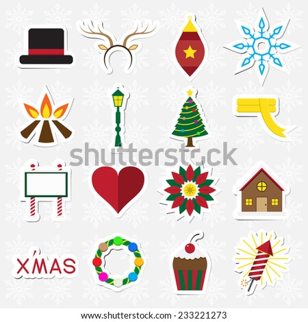 Christmas sticker icon set on white snowflake background vector illustration - stock vector