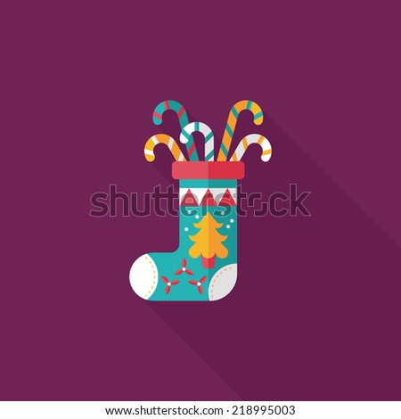 Christmas stocking flat icon with long shadow,eps10 - stock vector