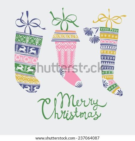 Christmas stocking greeting card - stock vector