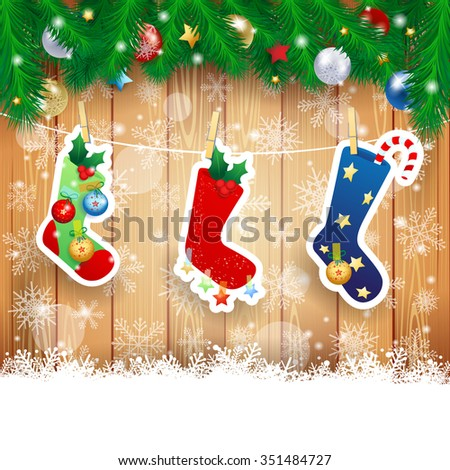 Christmas stocking on wooden background, vector illustration  - stock vector