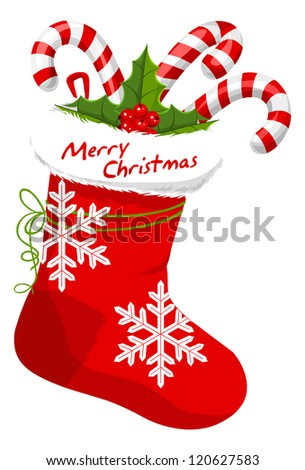 Christmas Stocking Stuffed with Candy Canes, vector illustration - stock vector