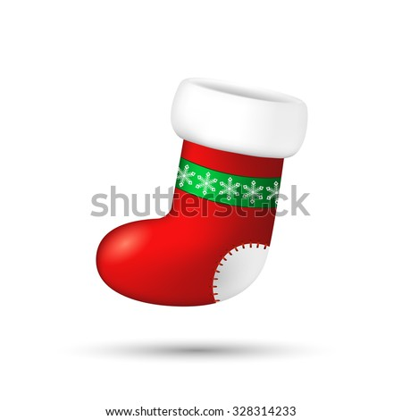 Christmas stocking with snowflakes ornament on white . Vector illustration - stock vector
