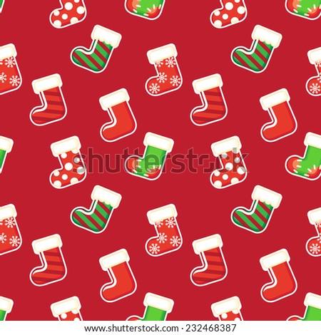 Christmas stockings seamless pattern. - stock vector