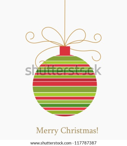Christmas striped ball. Vector illustration - stock vector